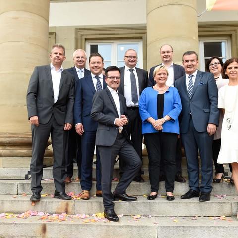 Treppen, Schloss Rosenstein, Gruppenfoto, Politisches Sommerfest, Handelsverband