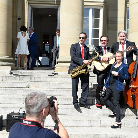 Schloss Rosenstein, Treppen, Musikgruppe, Politisches Sommerfest, Handelsverband